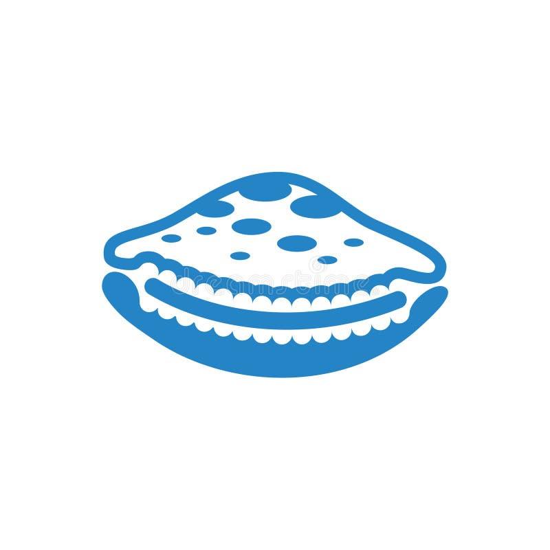 Bleu d'icône de Shell de mer sur le fond blanc pour le graphique et la conception web Signe simple de vecteur Symbole de concept  illustration libre de droits