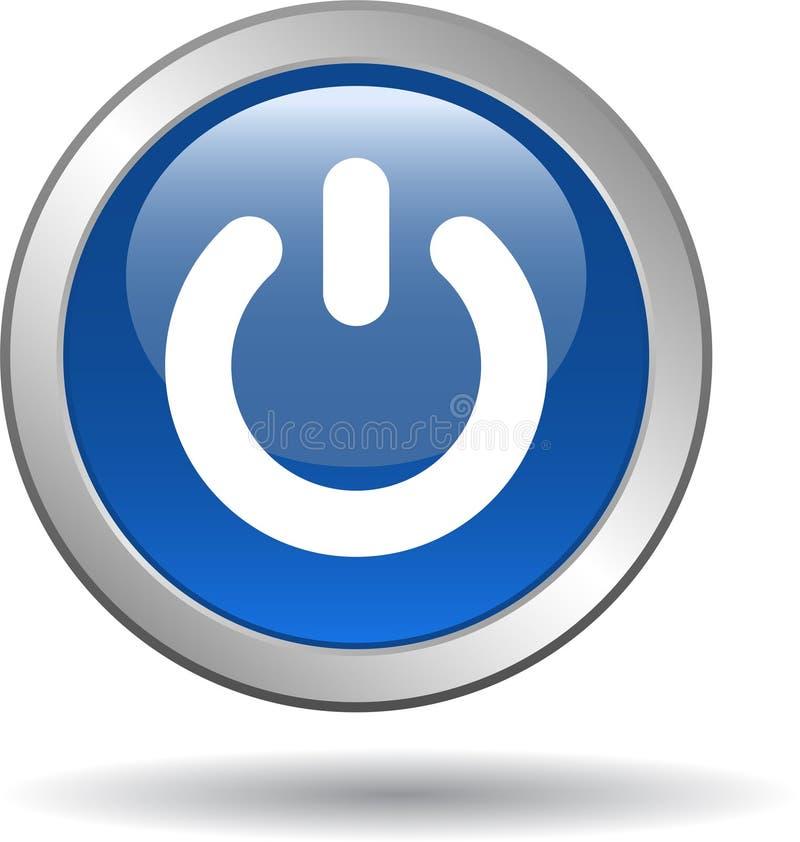 Bleu d'icône de Web de bouton de puissance illustration stock
