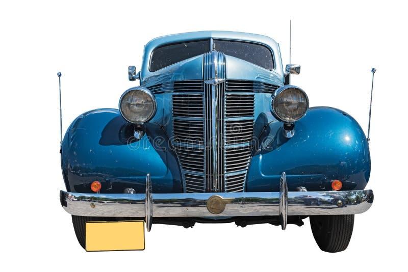 Bleu d'isolement sur la voiture blanche d'oldtimer de pontiac de fond images libres de droits