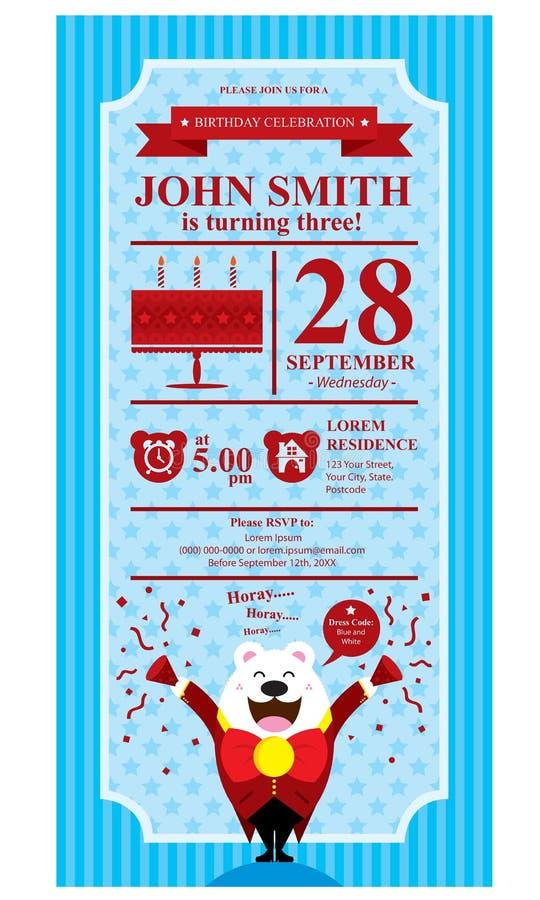Bleu d'ours blanc de joyeux anniversaire illustration libre de droits
