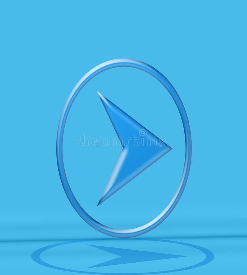Bleu de bouton de flèche image stock