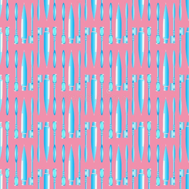 Bleu de brosse à dents et de pâte dentifrice sur le modèle sans couture de fond rose illustration de vecteur