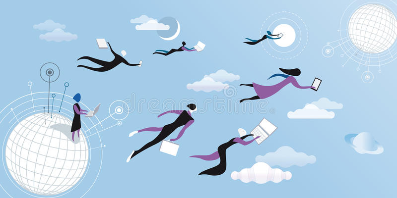 Bleu de calcul de nuage illustration libre de droits