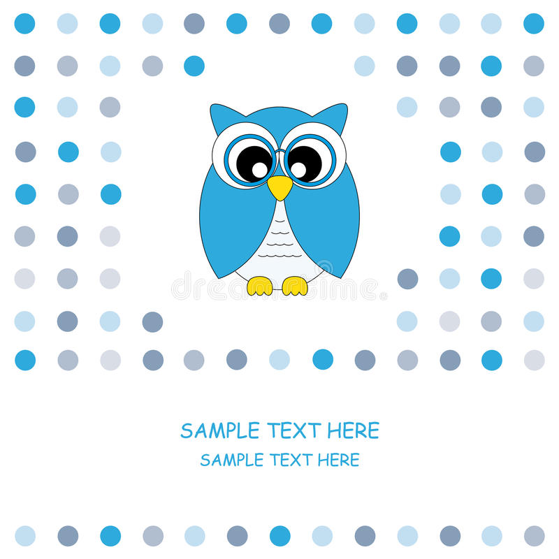 Bleu de carte de hibou illustration stock