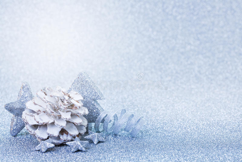Bleu de carte de Noël photographie stock