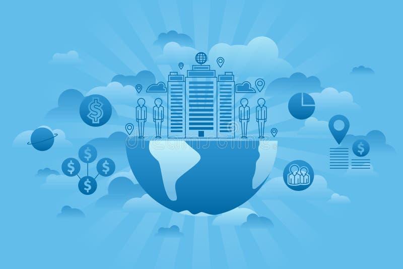 Bleu de concept de Global Company illustration de vecteur