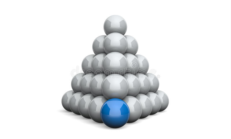 bleu 2 de concept de pyramide de boule de l'illustration 3D illustration de vecteur