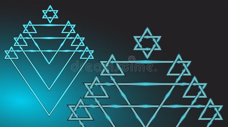 Bleu de couleur d'étoile de David de Menorah illustration de vecteur