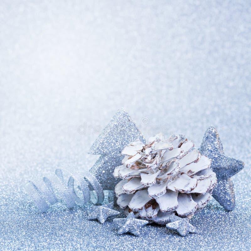 Bleu de décoration de Noël image stock