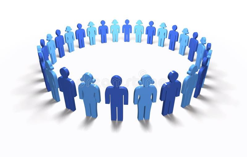 Bleu de femmes d'hommes - cercle, d'isolement illustration stock