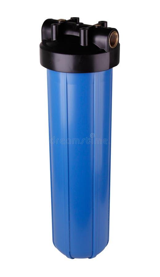Bleu de fiole filtrante, en plastique pour la purification d'eau Fond blanc d'isolement Pour am?liorer la qualit? de l'eau des so image libre de droits