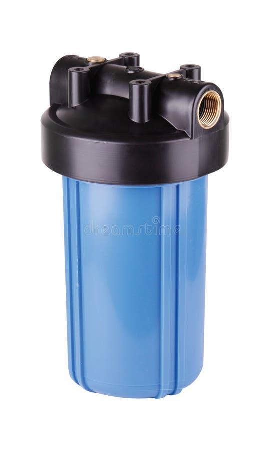 Bleu de fiole filtrante, en plastique pour la purification d'eau Fond blanc d'isolement Pour am?liorer la qualit? de l'eau de l'e photo libre de droits