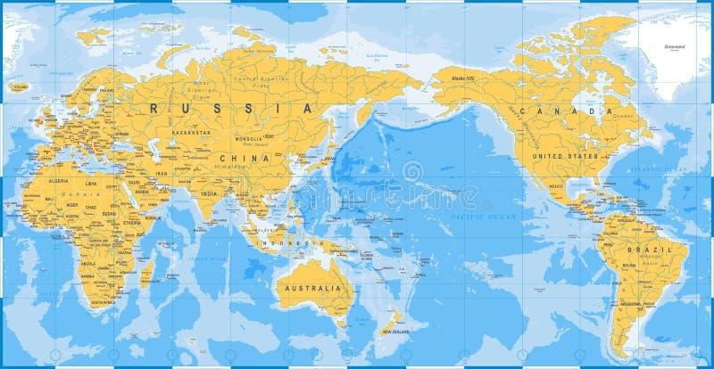 Bleu De Jaune De Carte Du Monde   Asie Au Centre Illustration