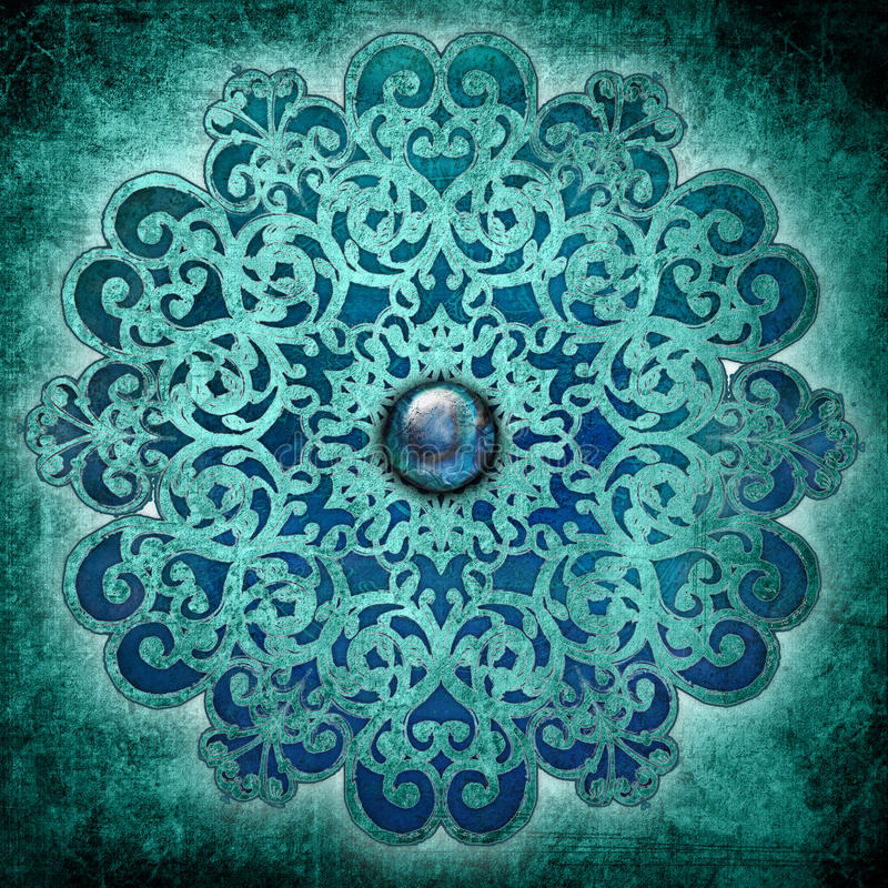 Bleu de mandala de paix illustration de vecteur