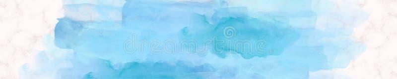 Bleu de marbre de peinture d'aquarelle de bannière de Web photos stock