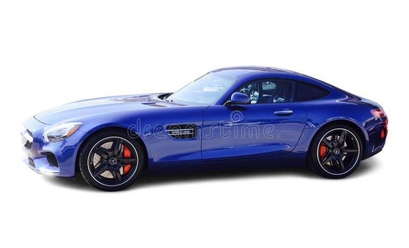 Bleu de Mercedes AMG GT sur le fond blanc photos stock