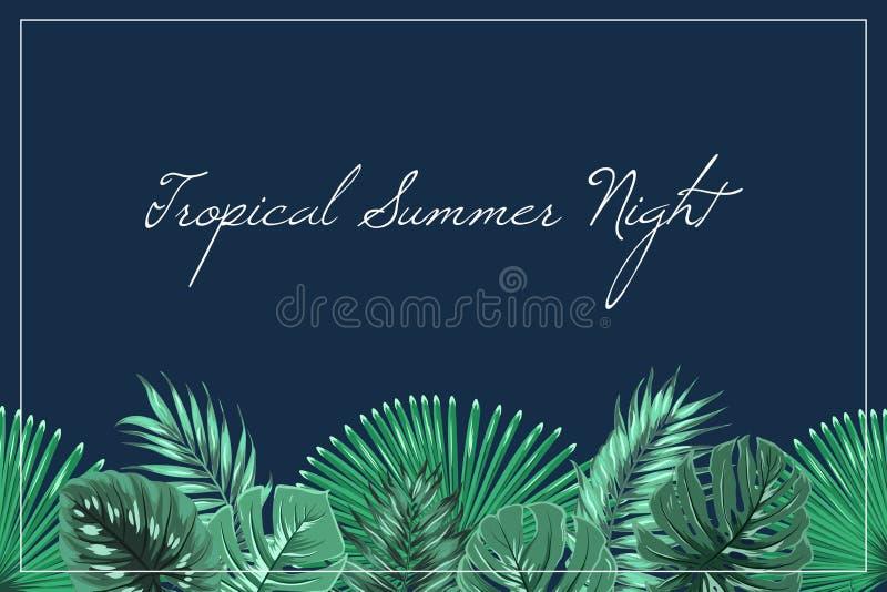 Bleu de minuit d'été de nuit de titre de bas de page tropical d'en-tête illustration libre de droits