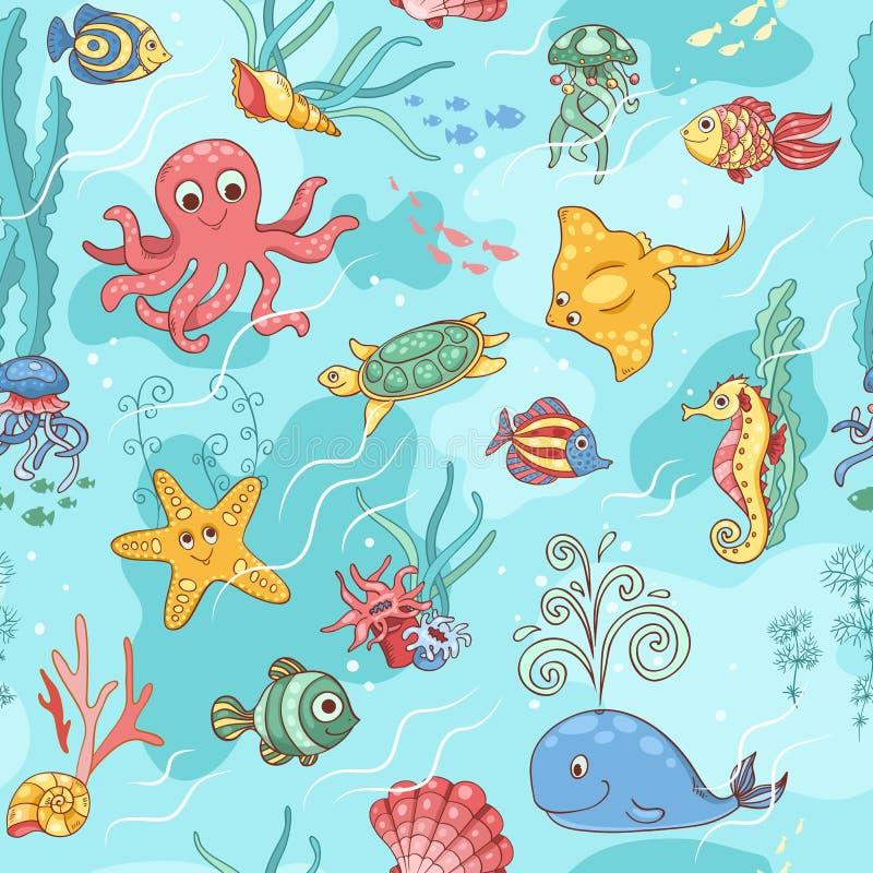 Bleu de modèle de vie marine illustration de vecteur