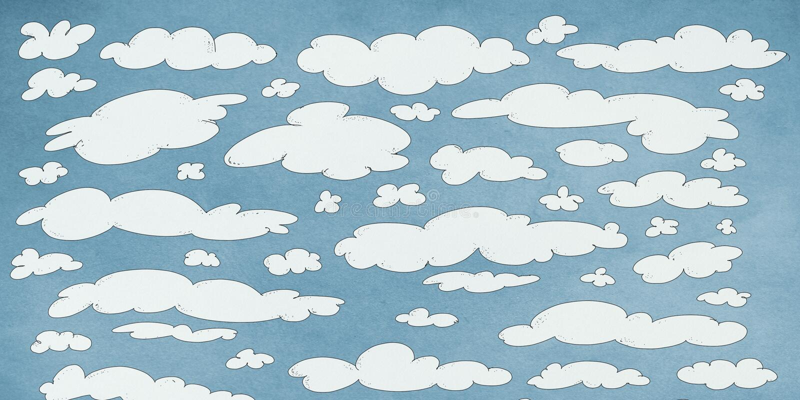 Bleu de Nuages blancs dans le ciel, bandeira ilustração do vetor
