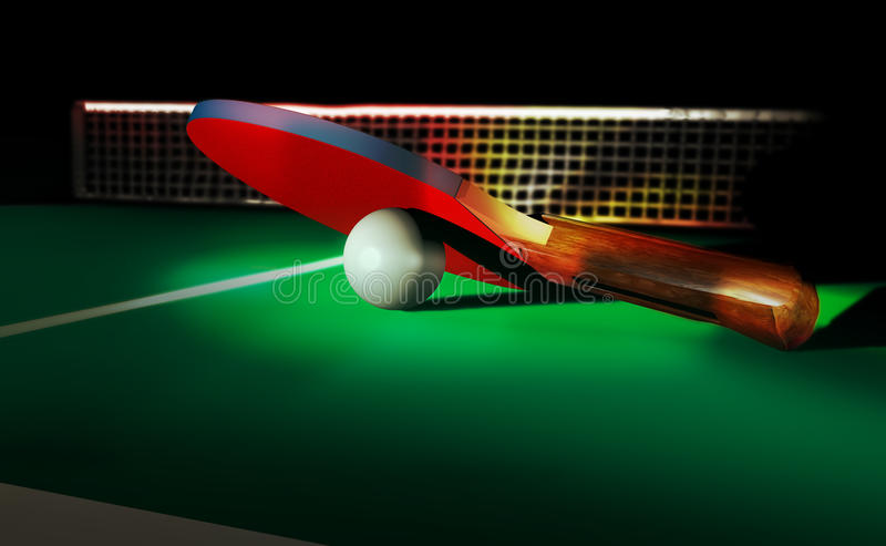 Bleu de palette de ping-pong de ping-pong illustration de vecteur