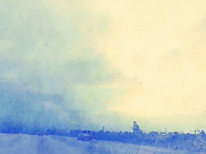 Bleu de paysage et de ciel d'aquarelle avec le coucher du soleil photo stock