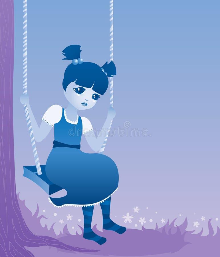 Bleu de petite fille illustration stock