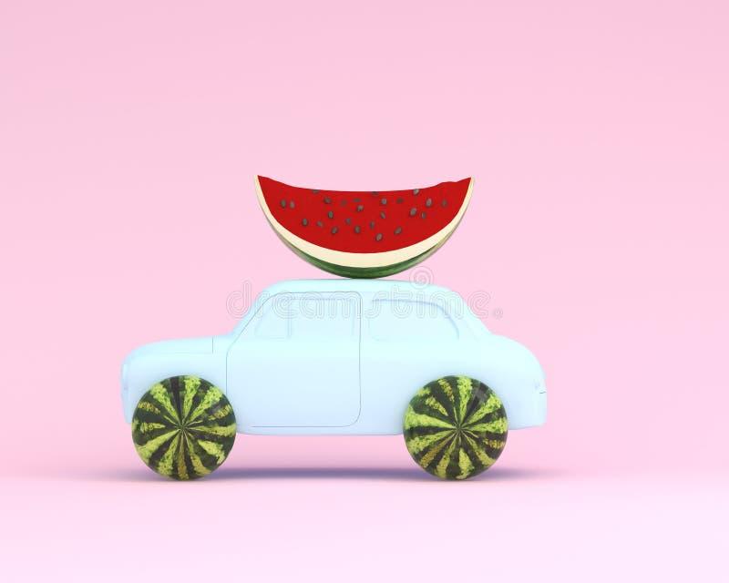 Bleu de roue et de voiture de pastèque sur le fond de rose en pastel minimal images stock