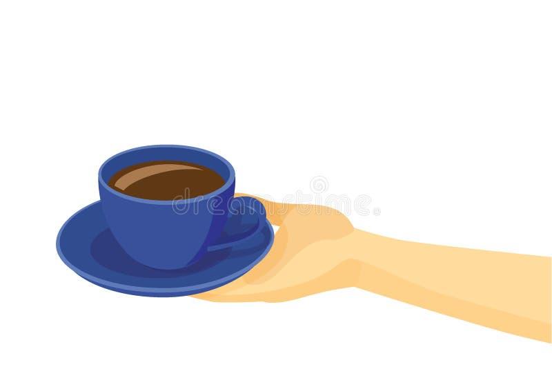 Bleu de tasse de café sur la soucoupe du plat dans la main humaine sur le fond blanc illustration de vecteur