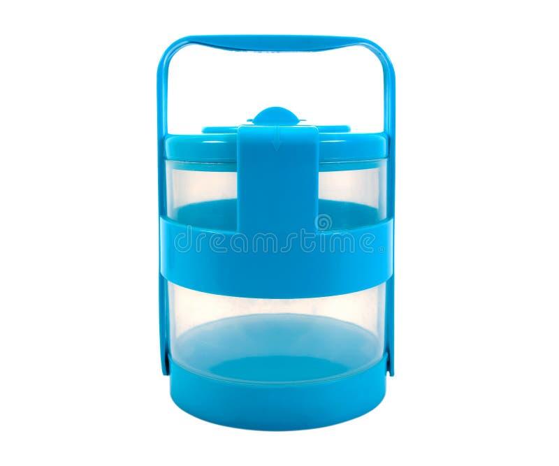 Bleu de transporteur de nourriture sur un fond blanc Transporteur de nourriture d'isolement Boîte de Tiffin d'isolement photos libres de droits