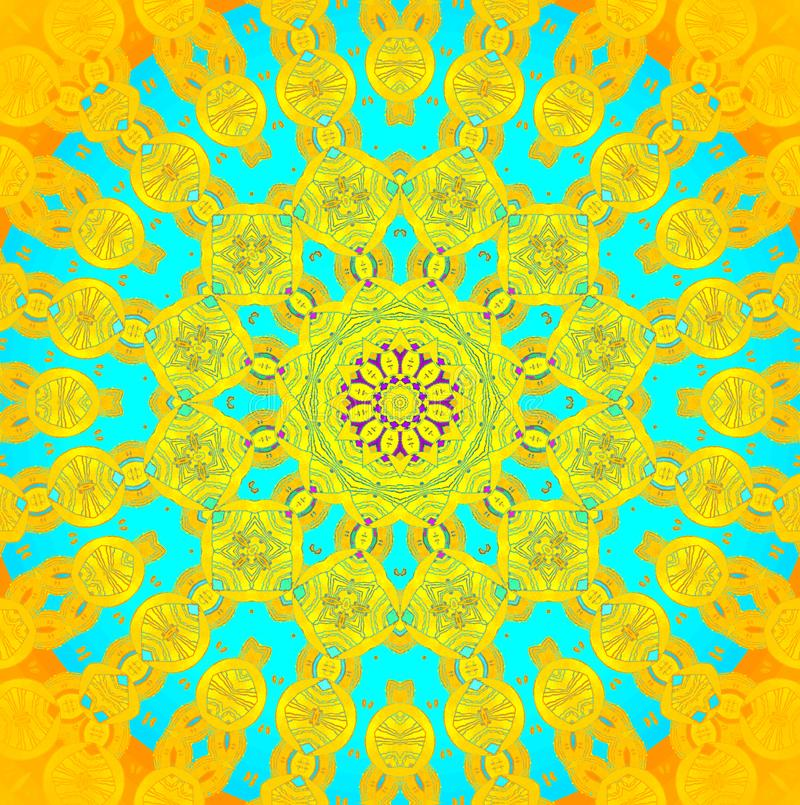 Bleu de turquoise jaune-orange d'ornement sans couture de cercle concentrique illustration de vecteur