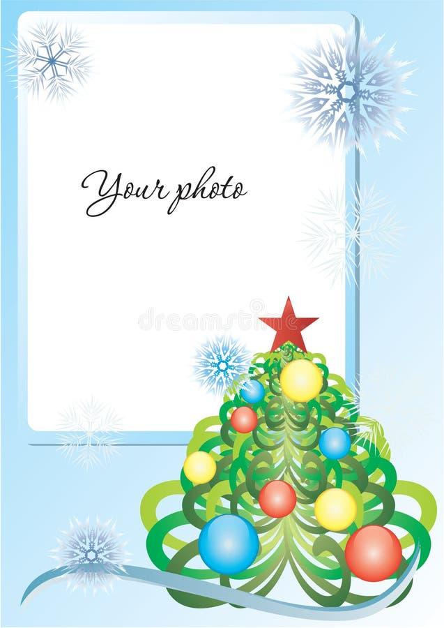 Bleu de vue avec l'arbre et les flocons de neige de Noël illustration stock