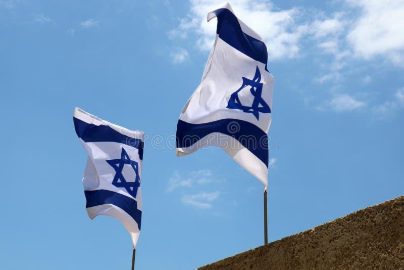 Bleu - drapeau israélien blanc images stock
