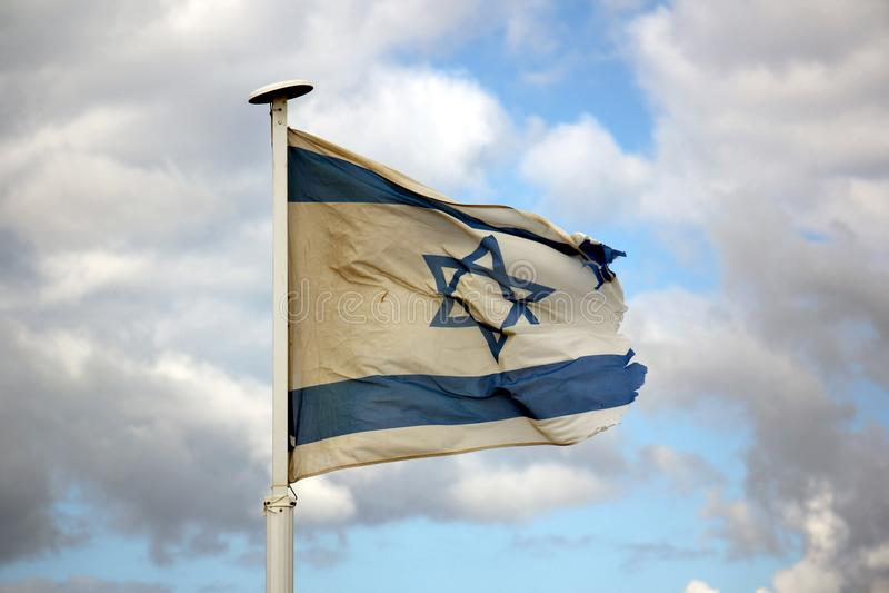 Bleu - drapeau israélien blanc photo stock