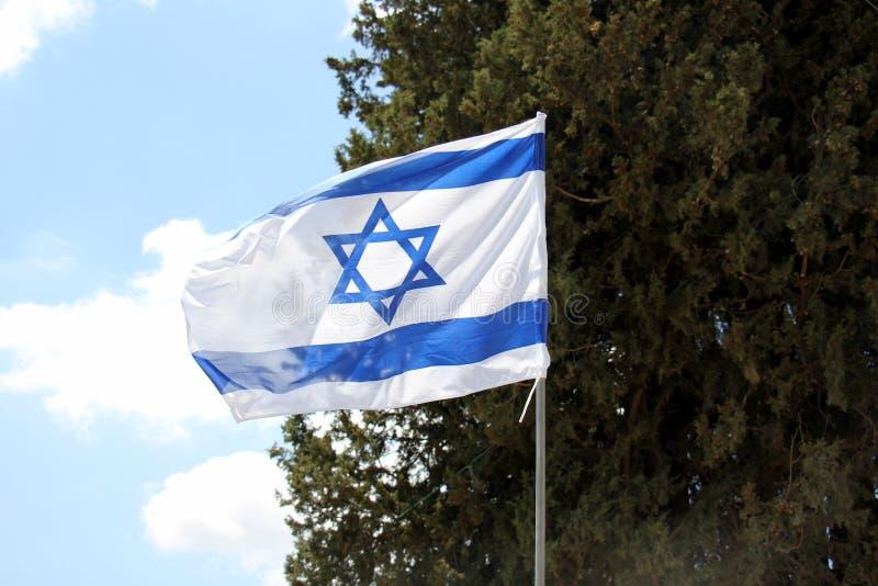 Bleu - drapeau israélien blanc photos libres de droits