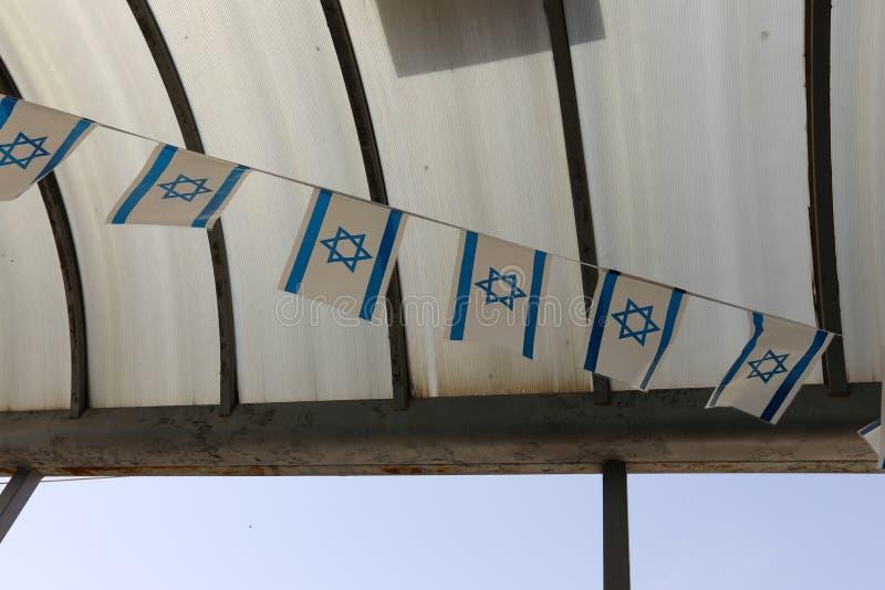 Bleu - drapeau israélien blanc images libres de droits