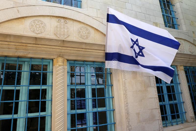 Bleu - drapeau israélien blanc photographie stock libre de droits