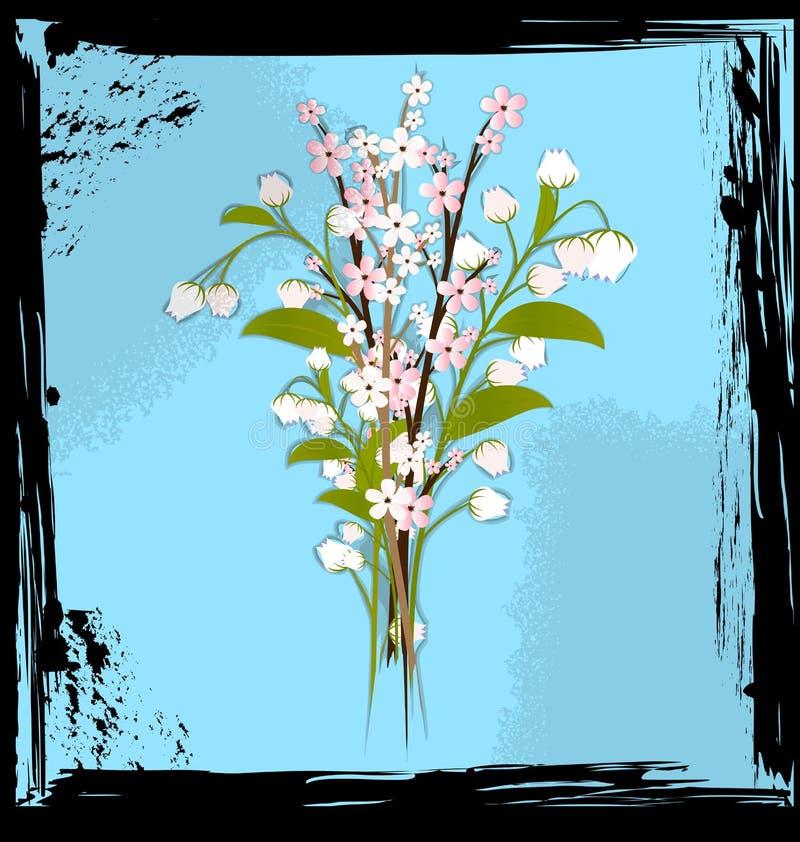 Bleu et bouquet abstraits des fleurs illustration de vecteur
