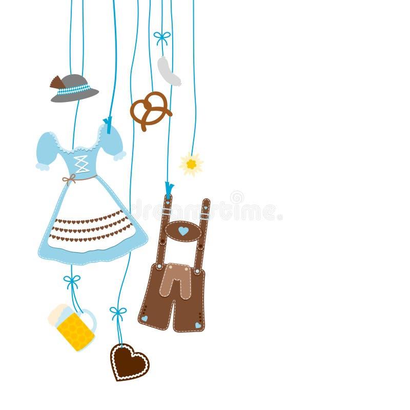 Bleu et Brown accrochants gauches d'icônes d'Oktoberfest illustration libre de droits
