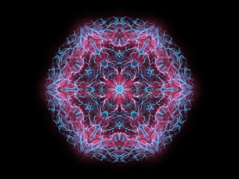 Bleu et flocon de neige rougeoyant abstrait rougeoyant rose de mandala de flamme, modèle rond floral ornemental sur le fond noir  illustration stock