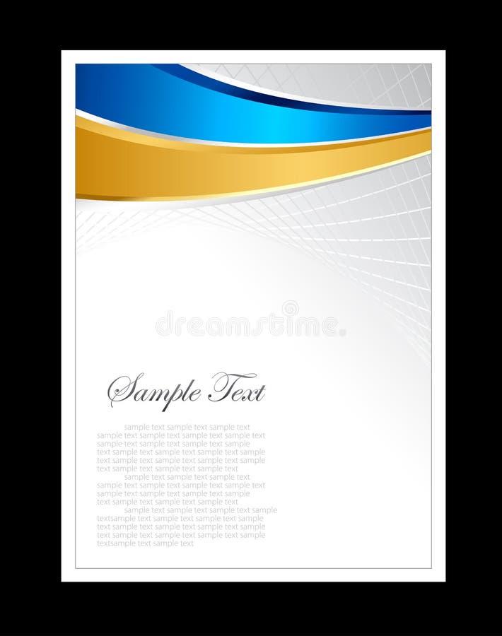 Bleu, or et fond abstrait blanc illustration stock
