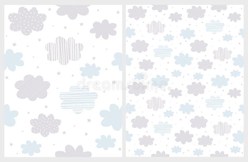 Bleu et Gray Clouds abstraits pelucheux avec la pluie de la forme d'étoile d'isolement sur un fond blanc illustration de vecteur