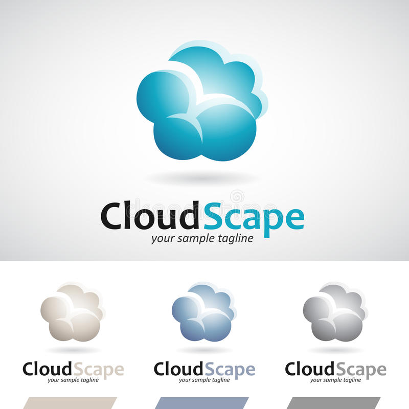 Bleu et nuage de pluie pelucheux de Brown Logo Icon illustration libre de droits