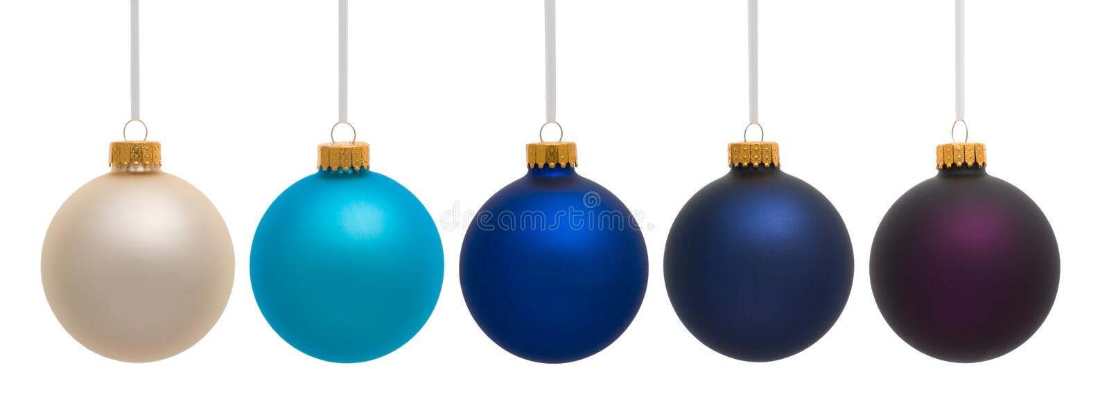 Bleu et ornements blancs de Pueple Chirstmas images libres de droits