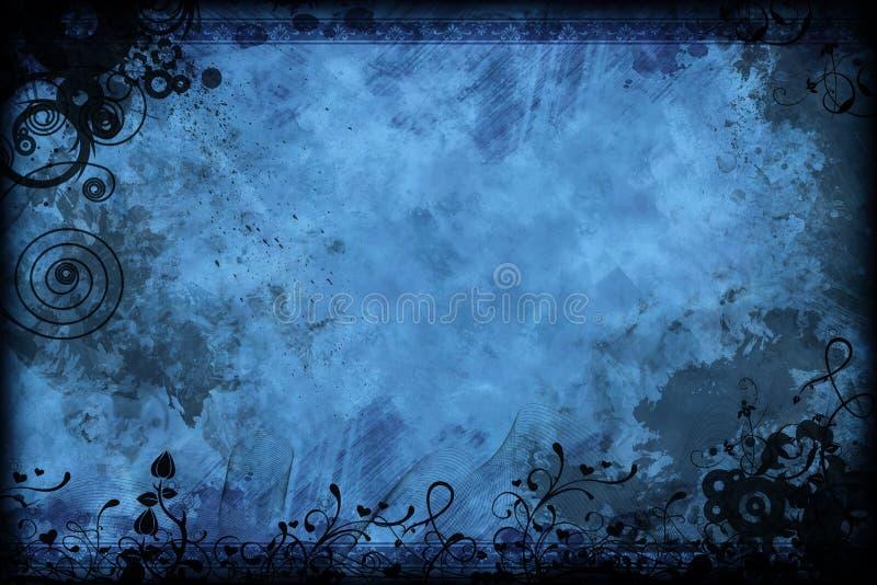 Bleu Floral De Cru Photo libre de droits