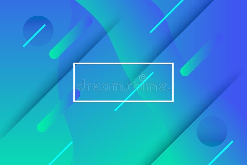 Bleu géométrique abstrait et fond liquide de vague de gradient vert avec la chute de météore et cadre au centre pour le texte illustration de vecteur