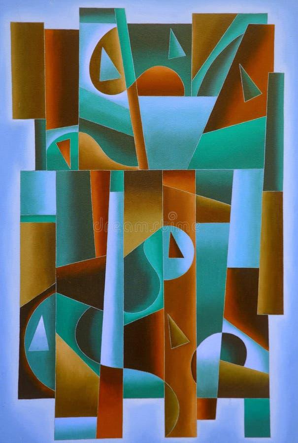 Bleu géométrique d'art de Digital, vert et brun illustration libre de droits