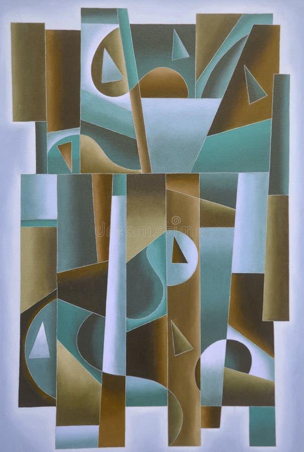 Bleu géométrique d'art de Digital, vert et brun illustration de vecteur