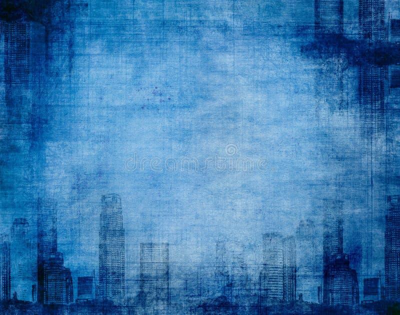Bleu grunge de ville illustration de vecteur