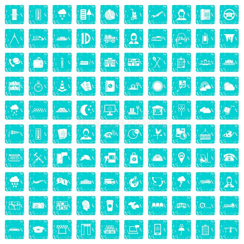 100 bleu grunge réglé d'expéditeur par icônes illustration de vecteur