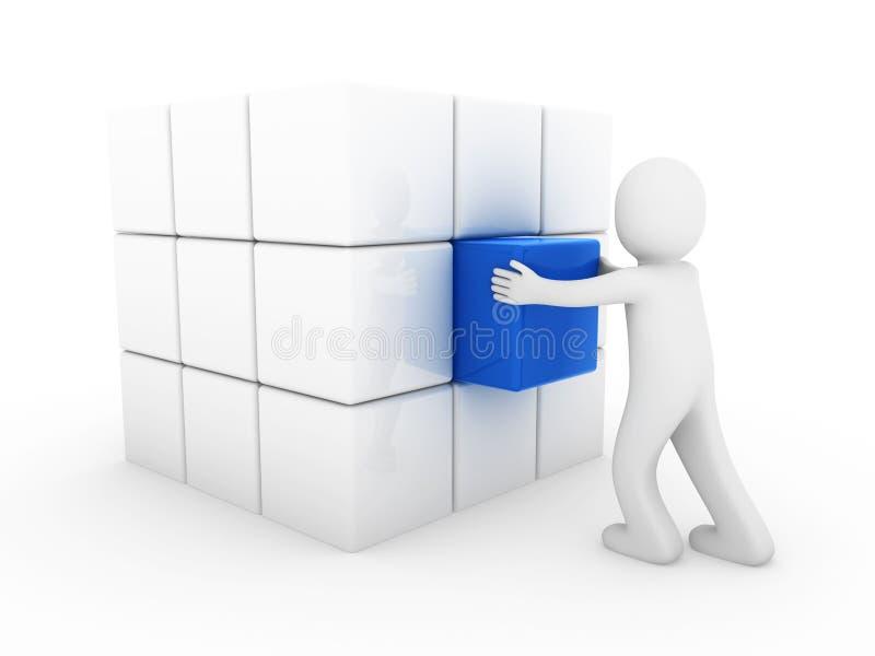 bleu humain de cube en affaires 3d illustration libre de droits